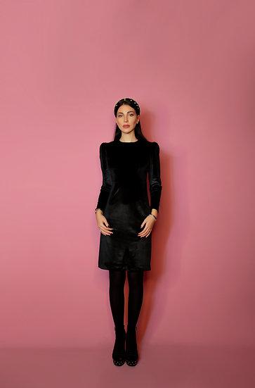 Black Velvet Büzgü Omuz Elbise