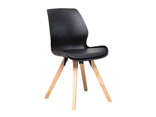 Shell Dining Chair Timber Legs - Black Seat