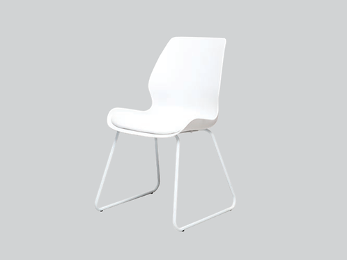 Shell Dining Chair Skid Base - White Seat