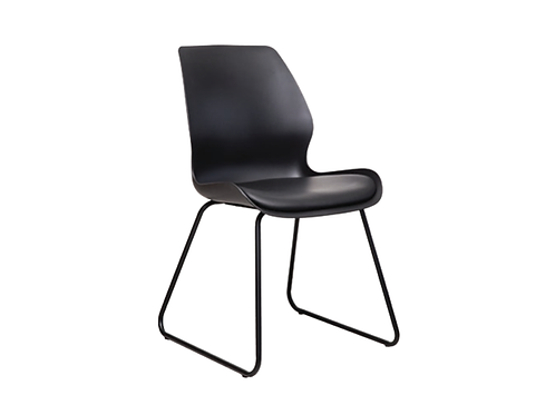 Shell Dining Chair Skid Base - Black Seat