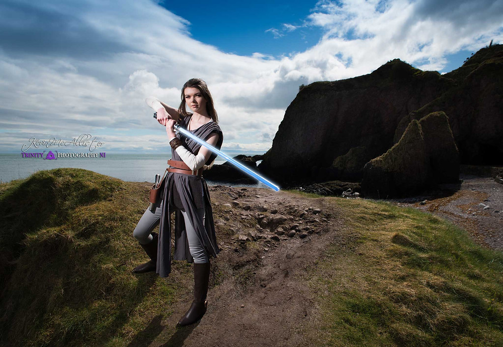 preparing for batlle lightsaber practice on the north coast of ireland