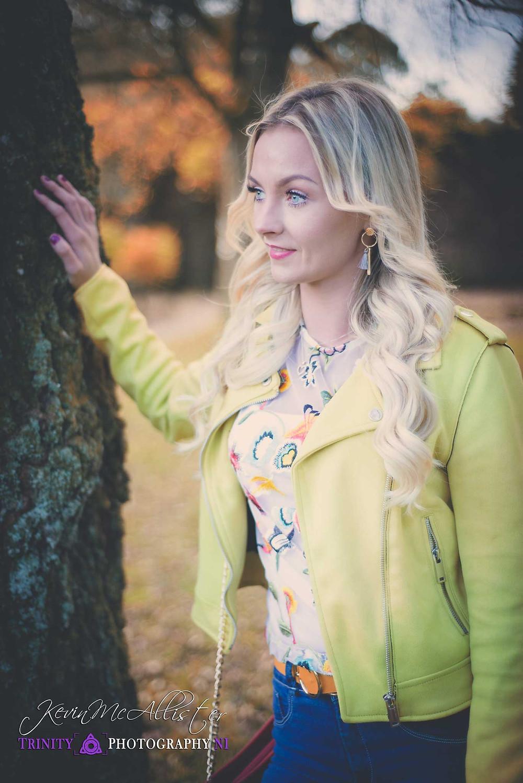 blonde model green jacket in autumn