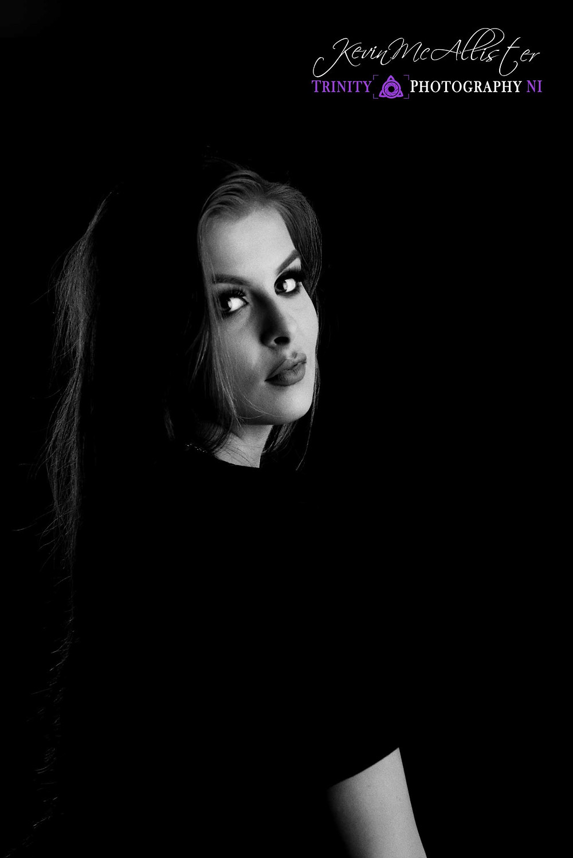 model black tshirt portrait style