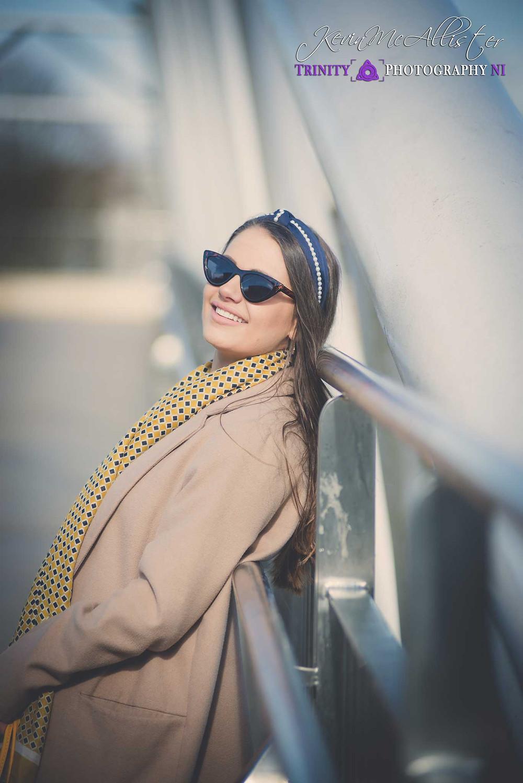 fashion model headshot on the footbridge in omagh