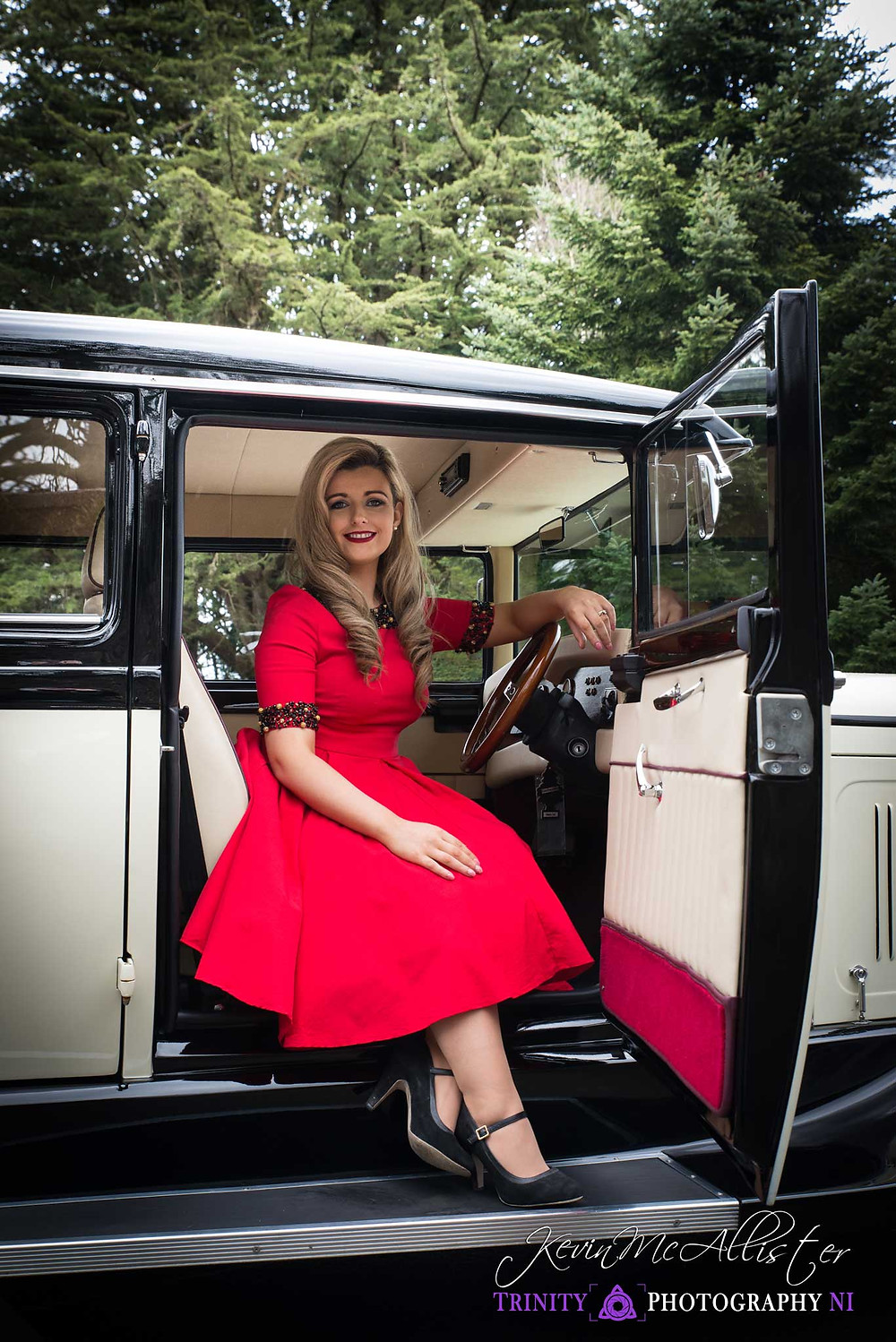 vintage fashion and classic car