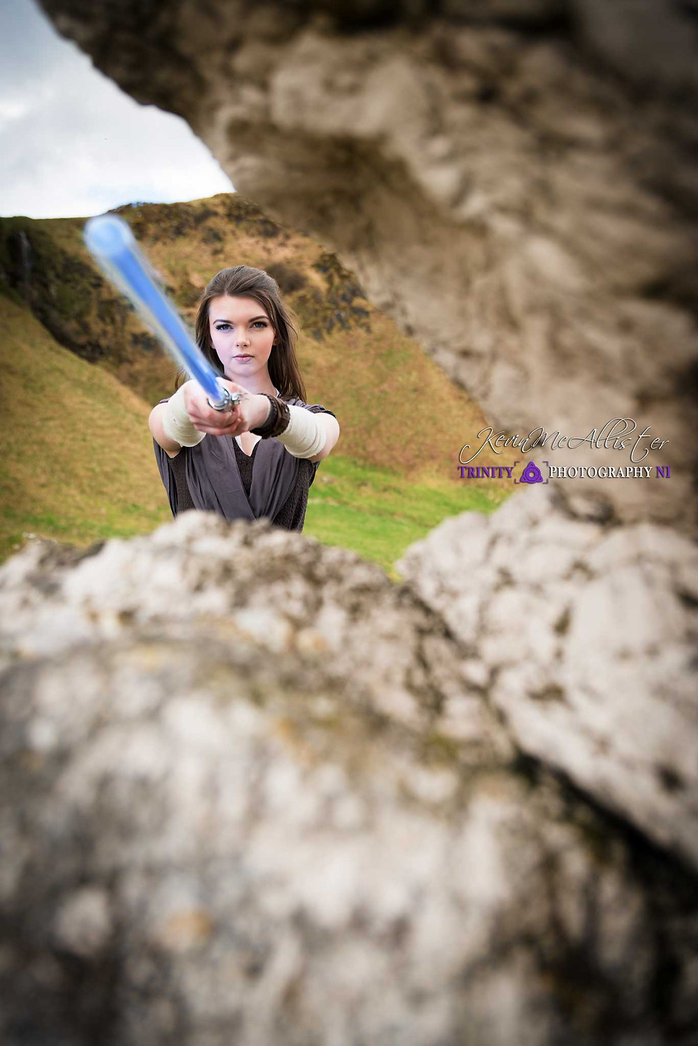recreating the scene from starwars the last jedi, cosplayer as rey north coast of ireland