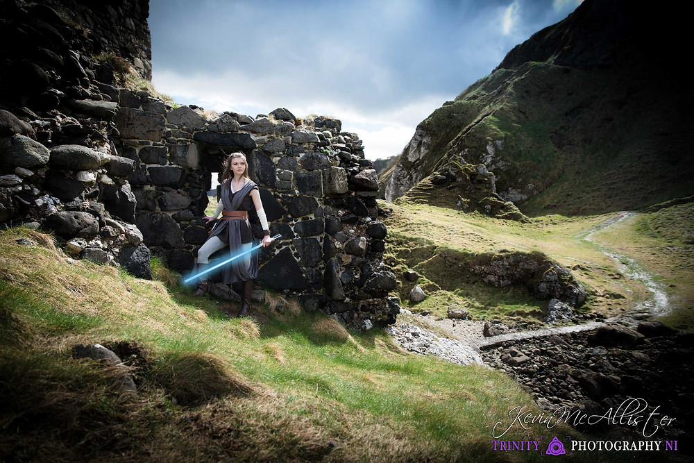 rey cosplayer at Kinbane Castle north coast of ireland