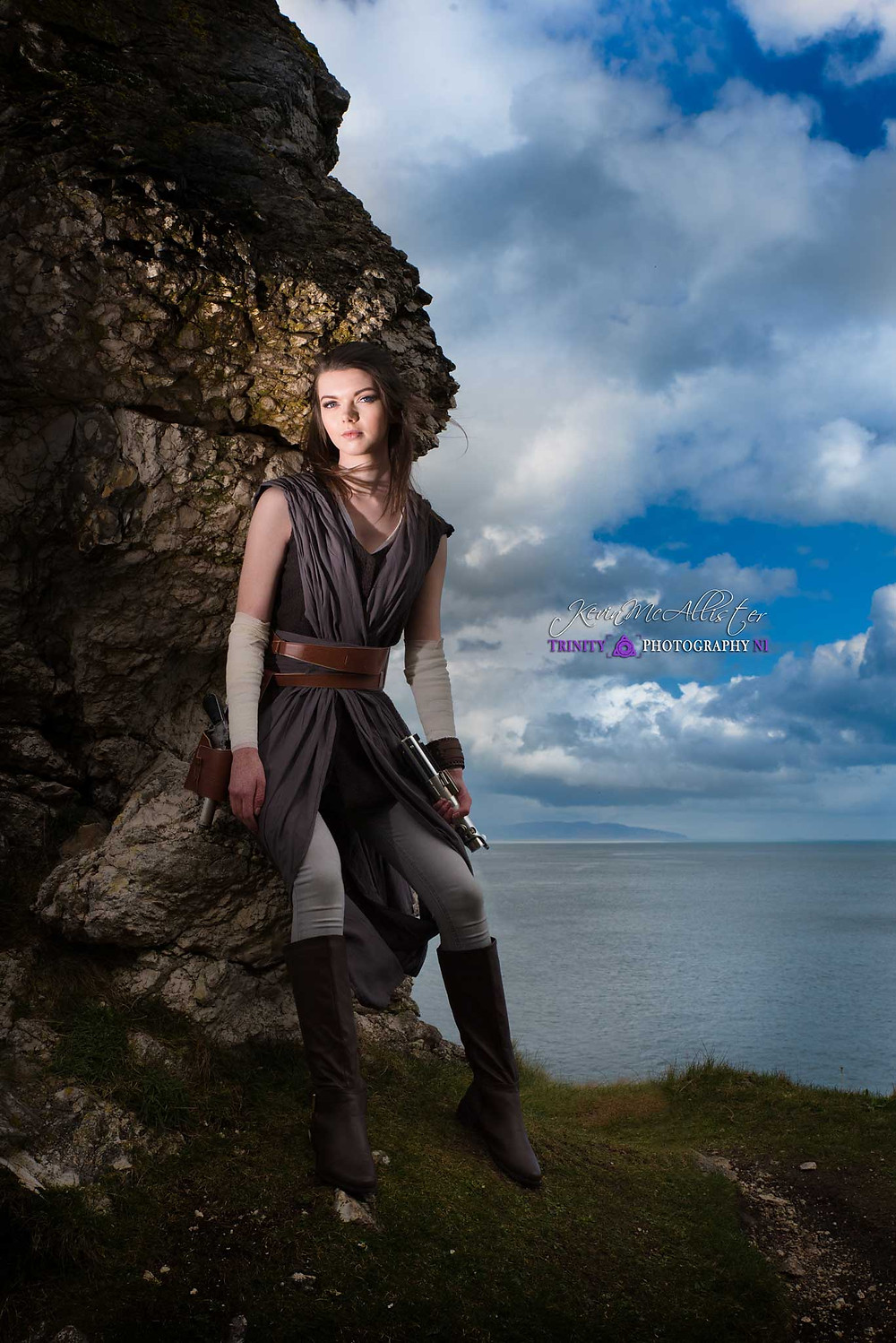 rey cosplayer north coast of ireland, lit by strobe lighting
