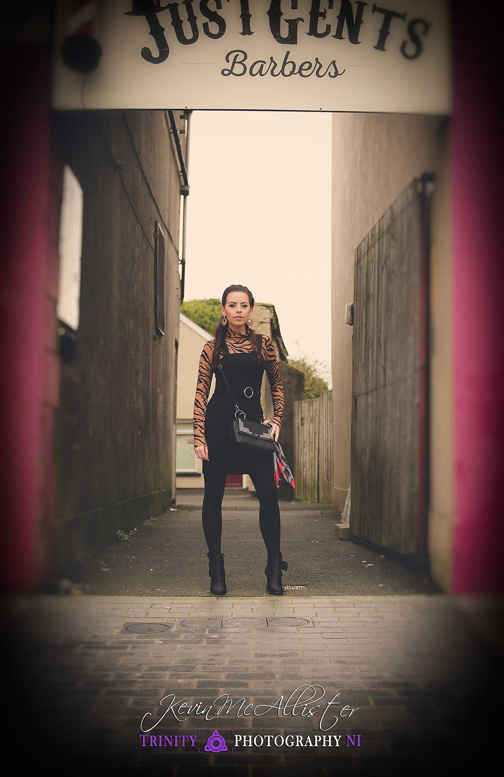fashion style model in alley