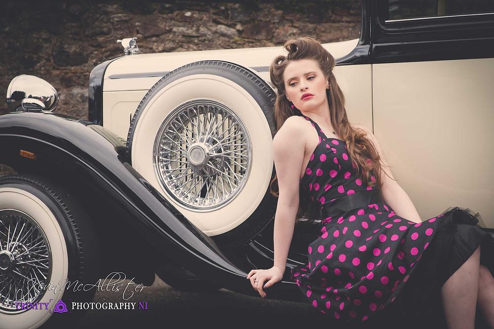 rockabilly style dress,vintage car,vintage fashion