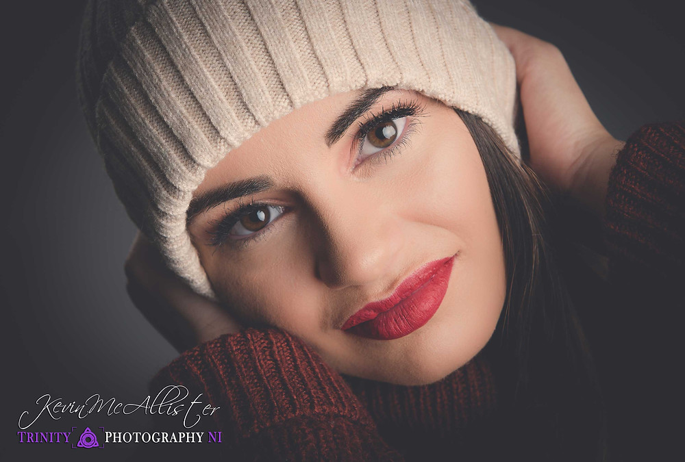 model in woolly hat and jumper