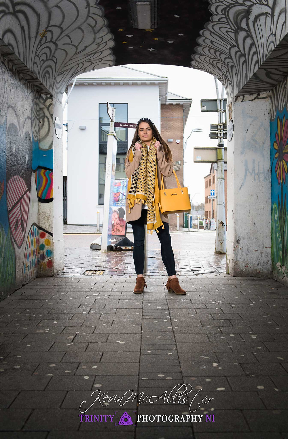 autumnal colours fashion model in a alley in Omagh