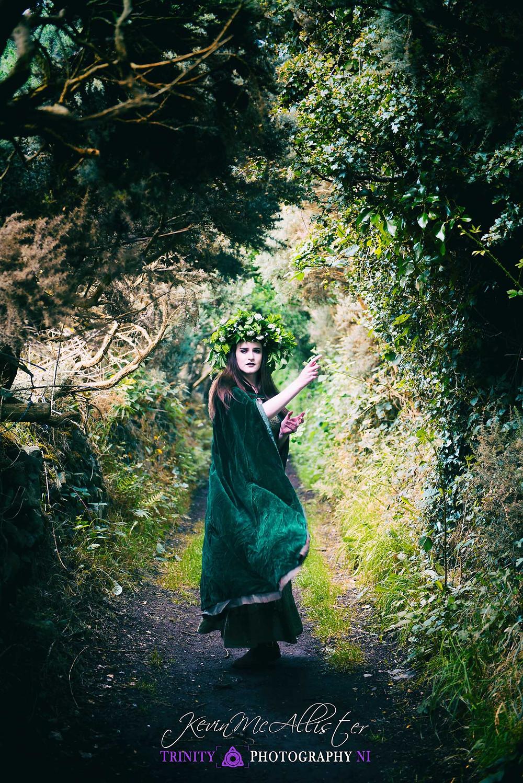head dress wearing sorceress in ireland