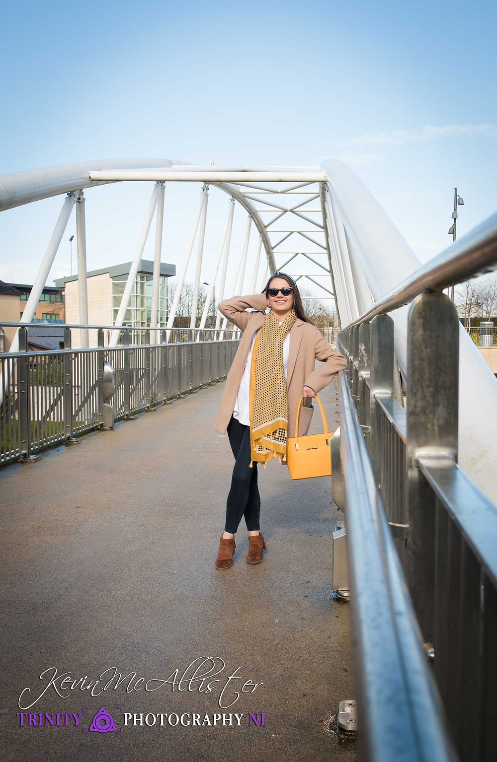 fashion model on bridge autumnal colours