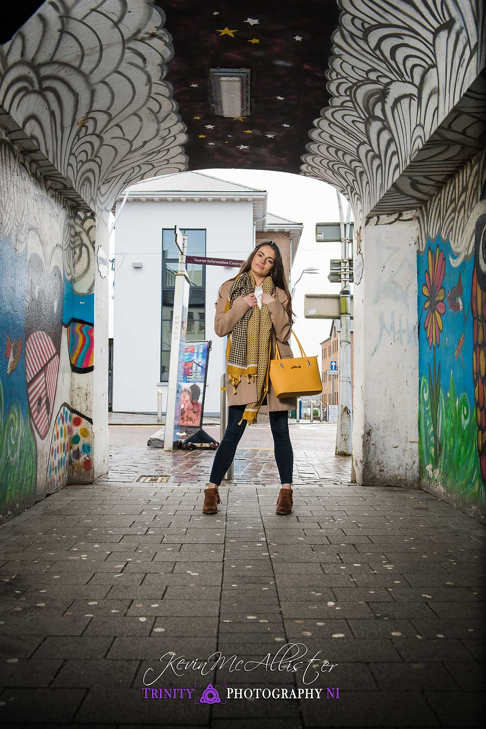 styled fashion model in a graffiti alley in omagh