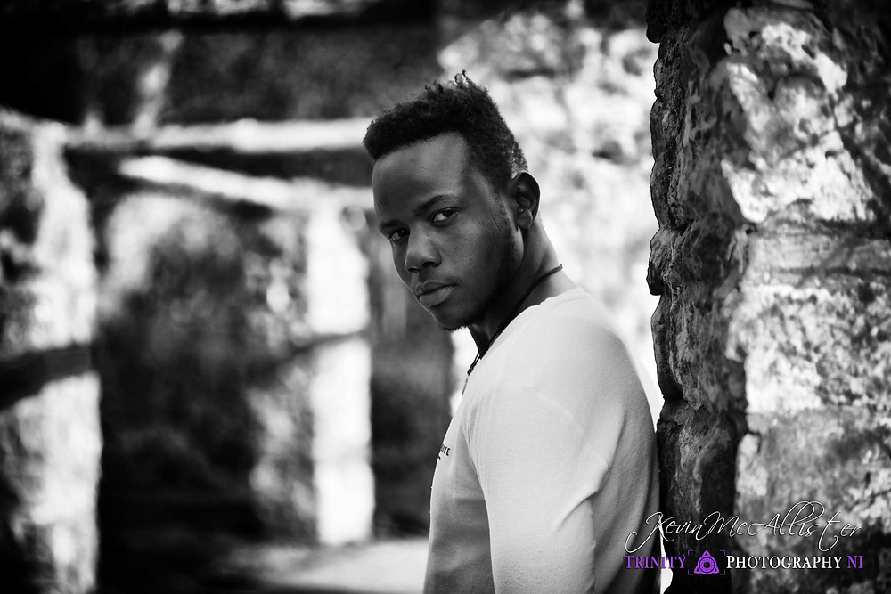 black & white male model portrait