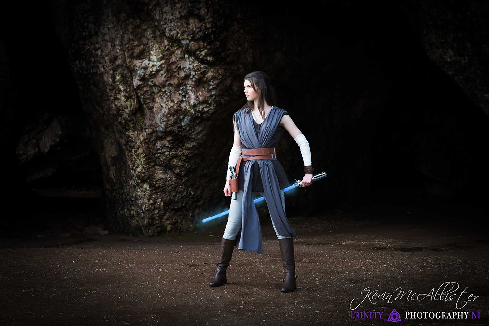 cosplaying rey outside cushendun caves filming location for Game of thrones