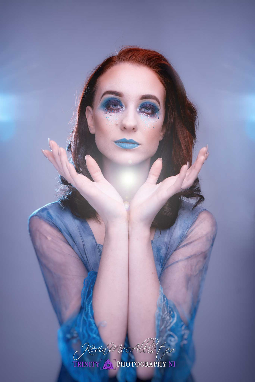 model light blue dress blue makeup image