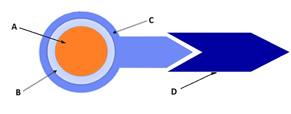 Schematic of a 4nDOT™: A: Core B: shell, C: Functionalizer, D: Agent for specific targeting (antibodies, primers, etc). 4nDOTS™ consist of some or all the elements shown above, depending on the costumer needs.