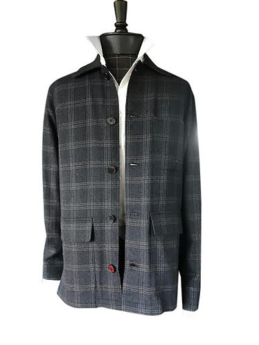 Soft Italian Plaid Wool Shirt Jacket