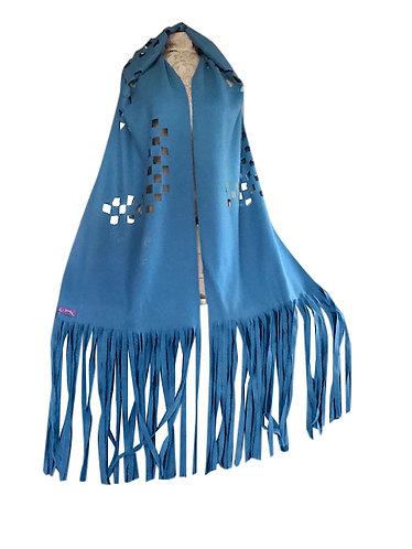 Turquoise cut work large shawl