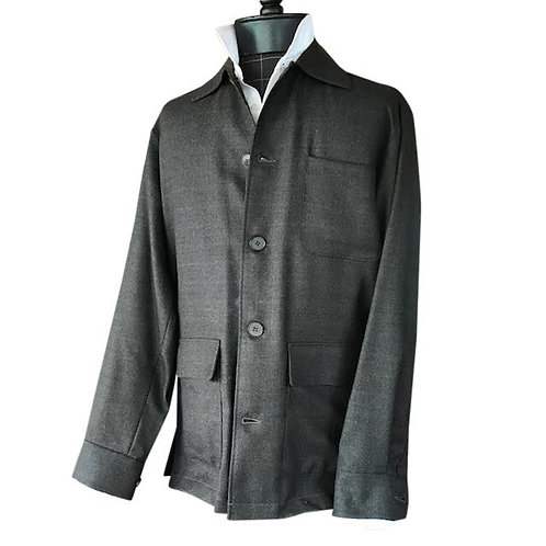 Subtle Loden Italian Plaid Shirt Jacket