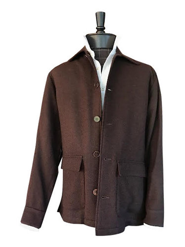 Dark Brown Wool Boucle Shirt Jacket