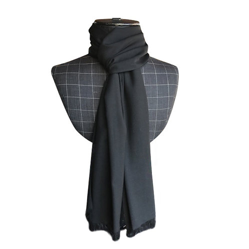 Black wool voile large scarf