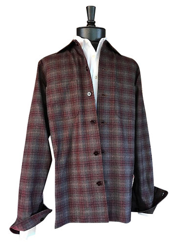 Cherry and taupe ombre plaid