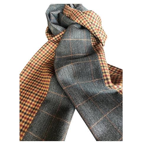 Dark grey windowpane scarf