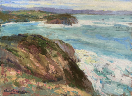 """Feline Cliffs"" Reusing an oil painting canvas"