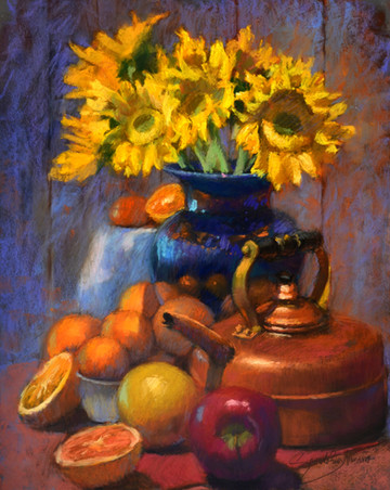 Sunflowers and fruits
