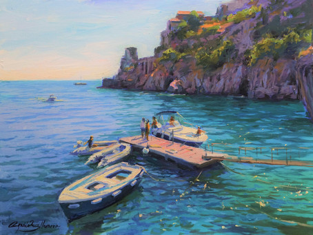 """""""Boats in Atrani"""" Oil Painting Demo"""