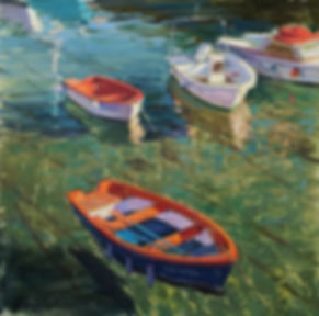 Boats in Castro Urdiales - Oil on canvas