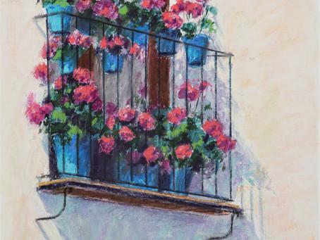 """""""Balcony in Cordoba"""" Pastel Demo"""
