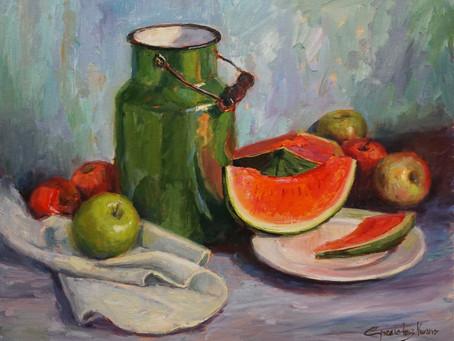 """Watermelon and Green Jug"" Oil Demo"