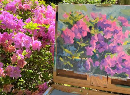 """Pink Azaleas"": Oil painting demo"