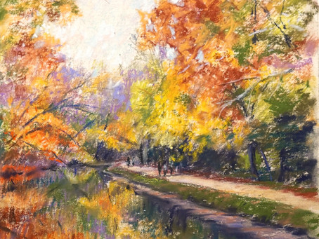 """""""The Canal in Fall"""" Pastel Demo"""