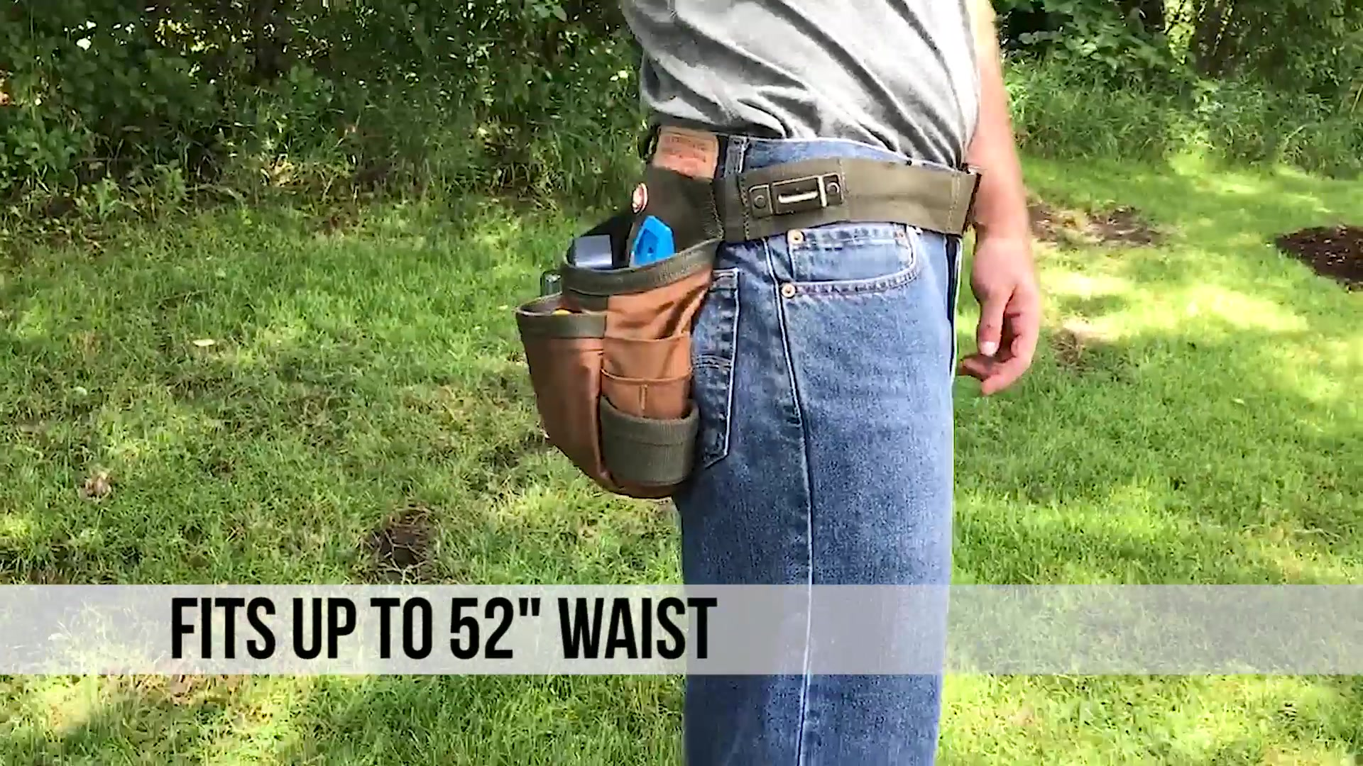 """Bucketboss Handyman Holster with Belt 5 Pockets fits waists up to 52/"""" 50300"""