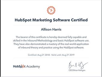 HubSpot Maketing Software Certified