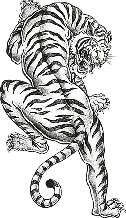 black and white illustration of a tiger, reminiscent of a traditional tattoo design