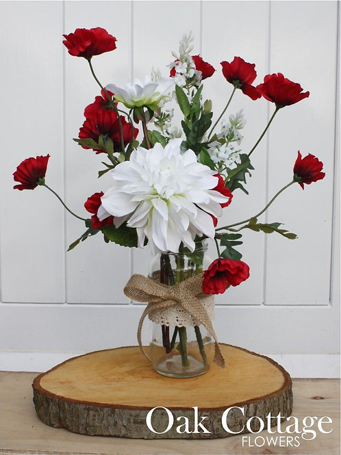 Red Poppy & Blue Boy Dahlia bouquet in Medium Jam Jar