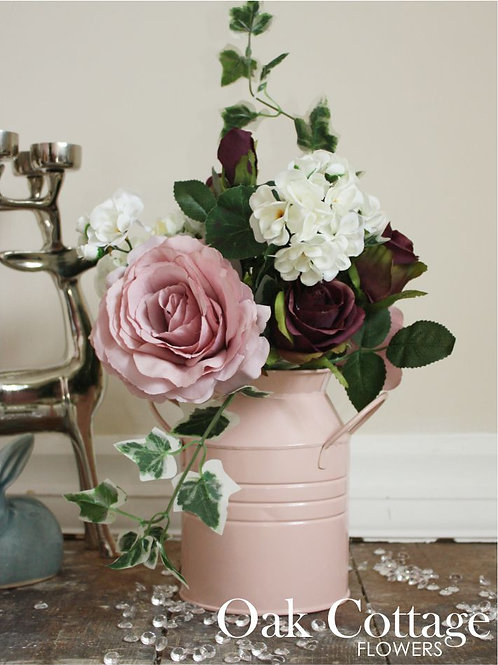 Aubergine Savanna & Blush Pink Tudor Rose Bouquet n Pale Pink Tin Milk