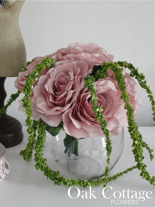Blush Pink Tudor Rose Bouquet in 15cm Glass Fish Bowl