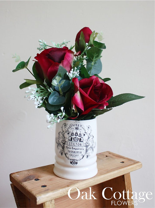 Fortnum & Mason Ceramic Pot filled with Red Roses