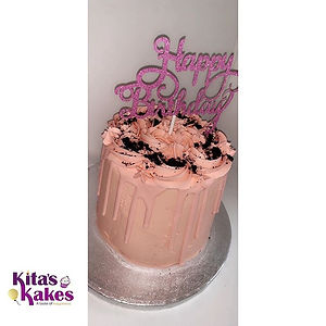 Pink on pink red velvet drip cake for th