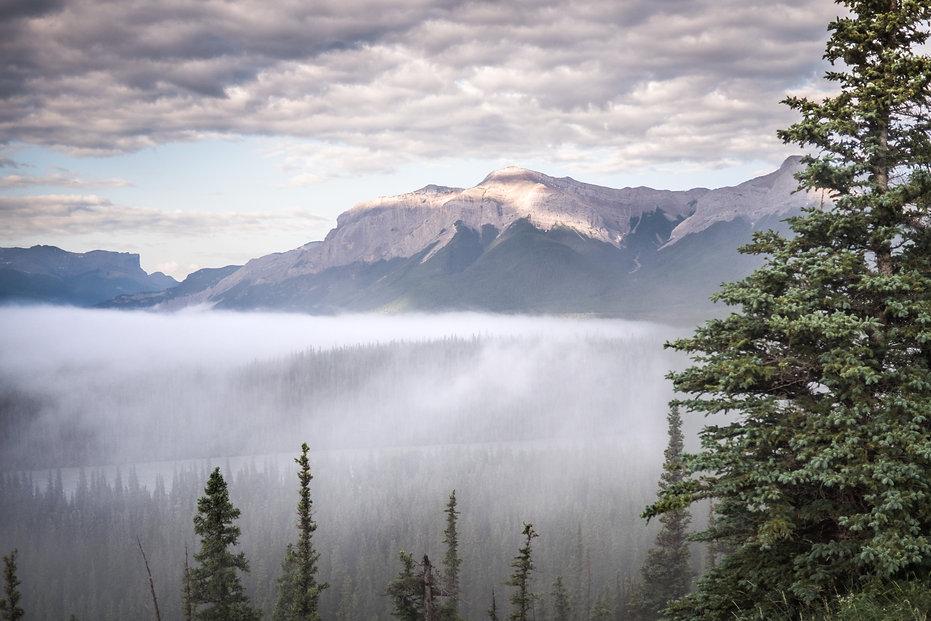 photographie de paysage de Montagnes de l'ouest Canadien avec brouillard