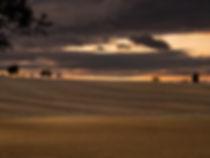 photographie d'un coucher de soleil sur un champs en France