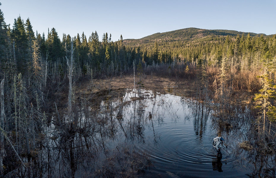 photographie d'aventure au québec : une fille taverse un lac à pied