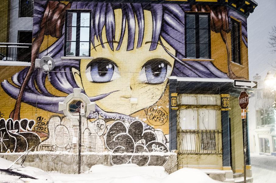 photographie urbaine : du streetart à Montréal sous une tempête de neige